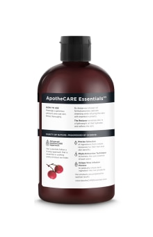 Back of In-Shower Oil ApotheCARE Essentials™ The Restorer In-Shower Oil Rosehip Oil Geranium Aloe Vera 12oz
