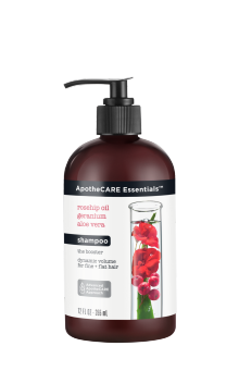 Front of shampoo ApotheCARE Essentials™ The Booster Shampoo Rosehip Oil Geranium Aloe Vera 12oz
