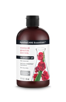 Front of In-Shower Oil ApotheCARE Essentials™ The Restorer In-Shower Oil Rosehip Oil Geranium Aloe Vera 12oz